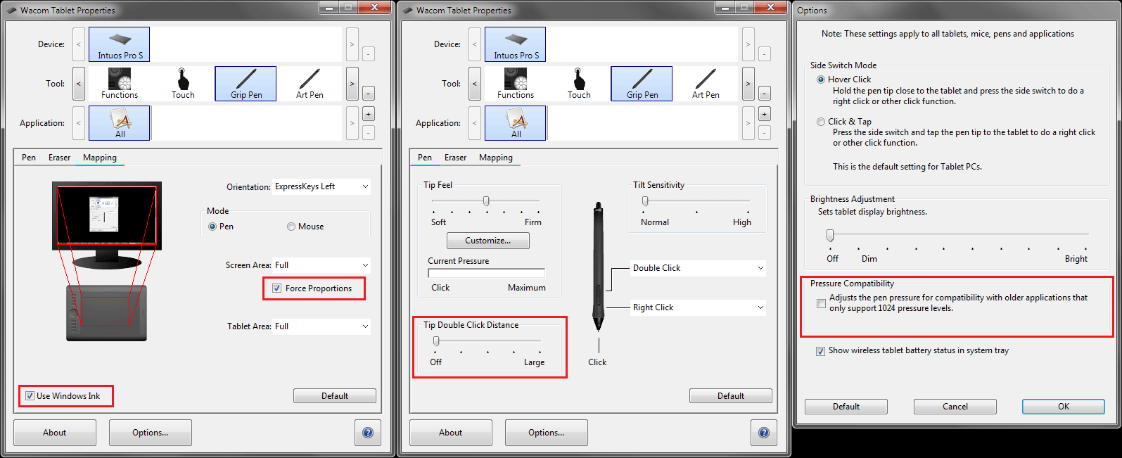 Wacom tablet recommended settings